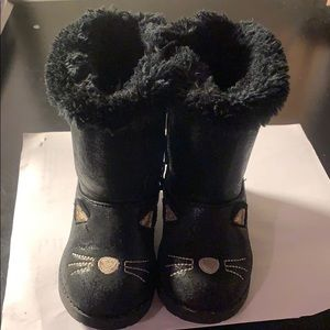 Cat & Jack Etha Black & Gold Girl Boots size 6